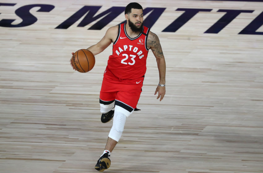 Sep 7, 2020; Lake Buena Vista, Florida, USA; Toronto Raptors guard Fred VanVleet (23) dribbles the ball against the Boston Celtics during the first half of game five of the second round in the 2020 NBA Playoffs at ESPN Wide World of Sports Complex. Mandatory Credit: Kim Klement-USA TODAY Sports