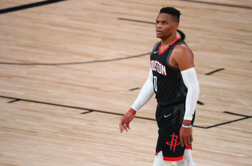 Sep 12, 2020; Lake Buena Vista, Florida, USA; Houston Rockets guard Russell Westbrook (0) looks on in the second half of game five of the second round against the Los Angeles Lakers of the 2020 NBA Playoffs at ESPN Wide World of Sports Complex. Mandatory Credit: Kim Klement-USA TODAY Sports