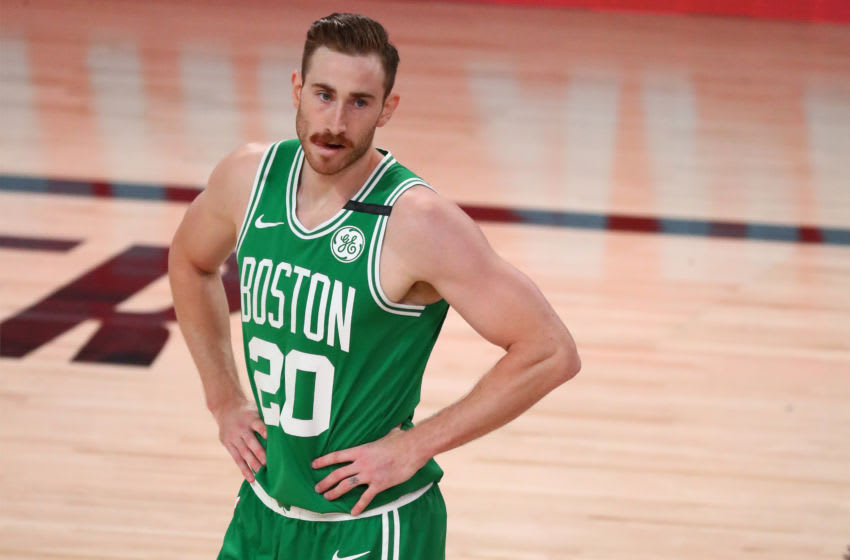 Sep 19, 2020; Lake Buena Vista, Florida, USA; Boston Celtics forward Gordon Hayward (20) reacts during the first half of game three of the Eastern Conference Finals of the 2020 NBA Playoffs against the Miami Heat at ESPN Wide World of Sports Complex. Mandatory Credit: Kim Klement-USA TODAY Sports
