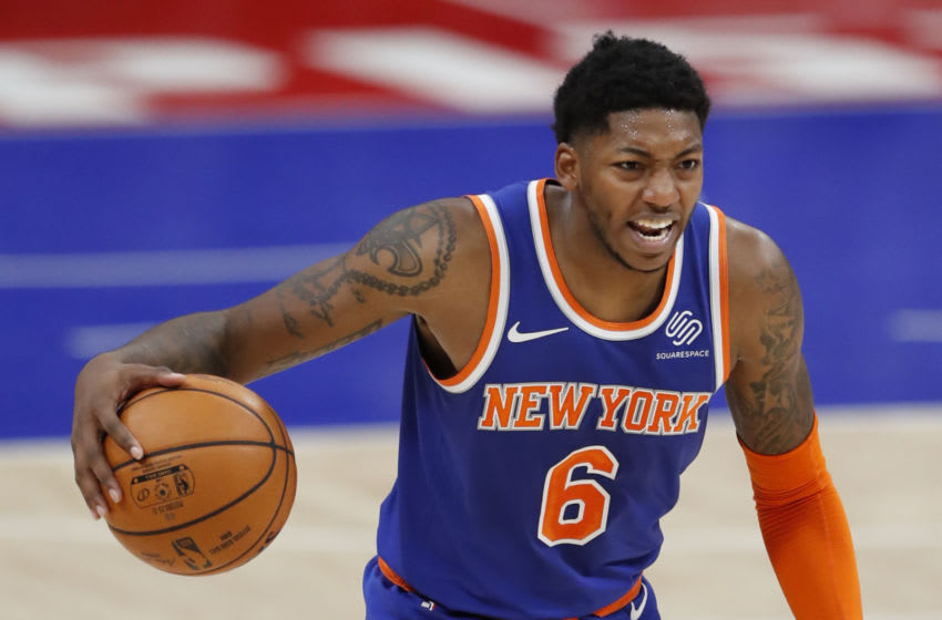 Dec 13, 2020; Detroit, Michigan, USA; New York Knicks guard Elfrid Payton (6) yells out as he dribbles the ball during the first quarter against the Detroit Pistons at Little Caesars Arena. Mandatory Credit: Raj Mehta-USA TODAY Sports
