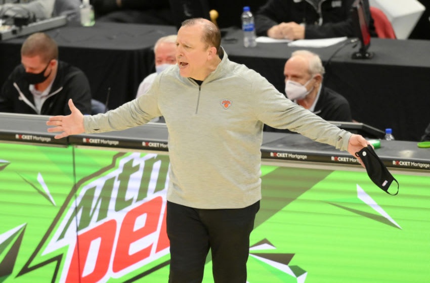 Dec 29, 2020; Cleveland, Ohio, USA; New York Knicks head coach Tom Thibodeau reacts in the fourth quarter against the Cleveland Cavaliers at Rocket Mortgage FieldHouse. Mandatory Credit: David Richard-USA TODAY Sports