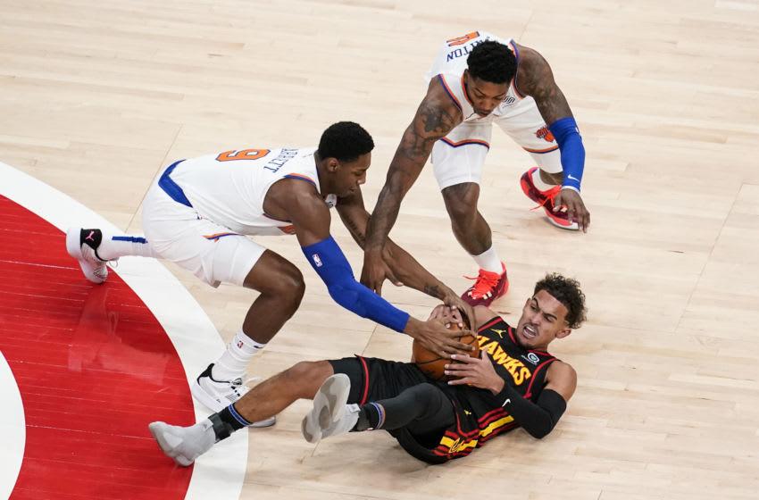 Trae Young, New York Knicks, Atlanta Hawks. Mandatory Credit: Dale Zanine-USA TODAY Sports