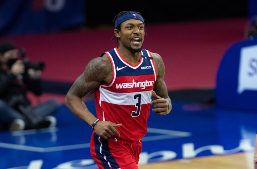 Jan 6, 2021; Philadelphia, Pennsylvania, USA; Washington Wizards guard Bradley Beal (3) reacts after a score against the Philadelphia 76ers during the fourth quarter at Wells Fargo Center. Mandatory Credit: Bill Streicher-USA TODAY Sports