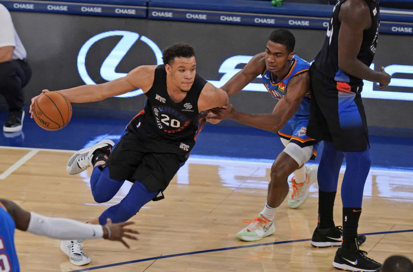 Jan 8, 2021; New York, New York, USA; New York Knicks' Kevin Knox II (20) drives to the basket during the second half of an NBA basketball game against the Oklahoma City Thunder, Friday, Jan. 8, 2021, in New York. The Thunder defeated the Knicks 101-89 at Madison Square Garden. Mandatory Credit: Seth Wenig/POOL PHOTOS-USA TODAY Sports