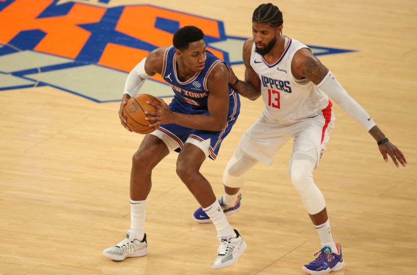 RJ Barrett, Paul George, NY Knicks. Mandatory Credit: Brad Penner-USA TODAY Sports