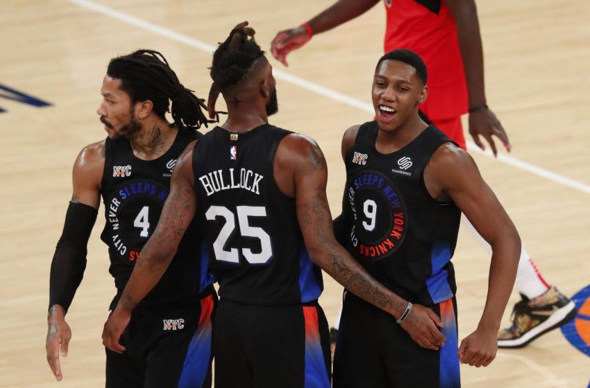 RJ Barrett, Reggie Bullock, Derrick Rose, NY Knicks. Mandatory Credit: Noah K. Murray/Pool Photo-USA TODAY Sports