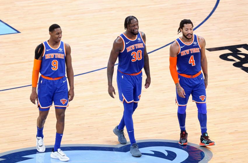 RJ Barrett, Julius Randle, Derrick Rose, New York Knicks. Mandatory Credit: Nelson Chenault-USA TODAY Sports