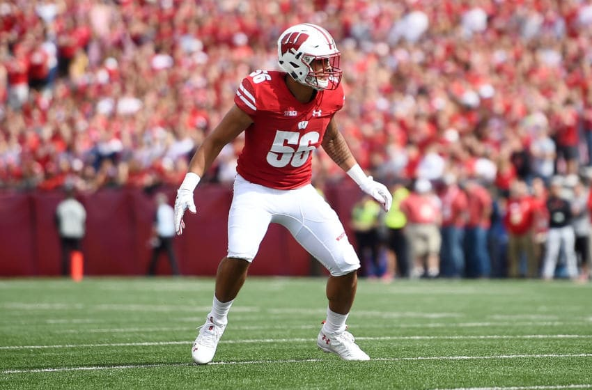 MADISON, WI - SEPTEMBER 08: Zack Baun #56 of the Wisconsin Badgers reacts to a play during a game against the New Mexico Lobos at Camp Randall Stadium on September 8, 2018 in Madison, Wisconsin. Wisconsin defeated New Mexico 45-14. (Photo by Stacy Revere/Getty Images)