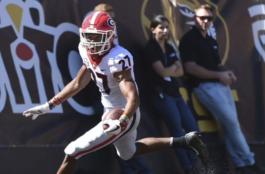 COLUMBIA, MO - SEPTEMBER 22: Eric Stokes #27 of the Georgia Bulldogs runs into the end zone to score on a blocked punt against the Missouri Tigers in the second quarter at Memorial Stadium on September 22, 2018 in Columbia, Missouri. (Photo by Ed Zurga/Getty Images)