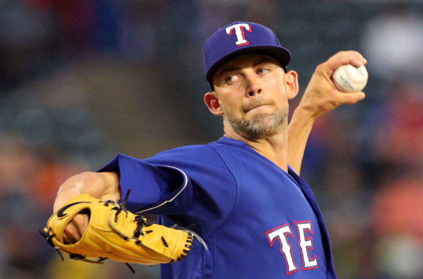 ARLINGTON, TX - SEPTEMBER 22: Mike Minor #36 of the Texas Rangers pitches in the first inning against the at Globe Life Park in Arlington on September 22, 2018 in Arlington, Texas. (Photo by Richard Rodriguez/Getty Images)