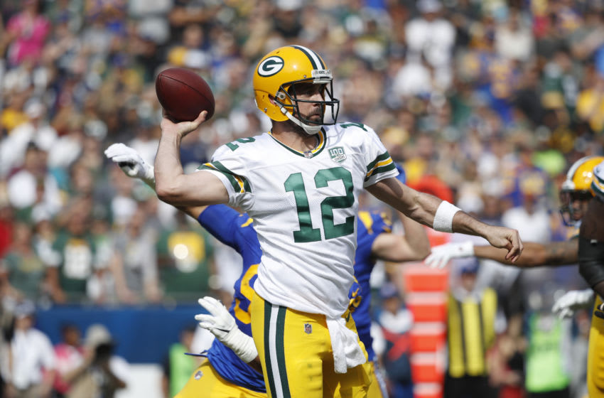 LOS ANGELES, CA - OCTOBER 28: Aaron Rodgers #12 of the Green Bay Packers throws a pass during the game against the Los Angeles Rams at Los Angeles Memorial Coliseum on October 28, 2018 in Los Angeles, California. (Photo by Joe Robbins/Getty Images)