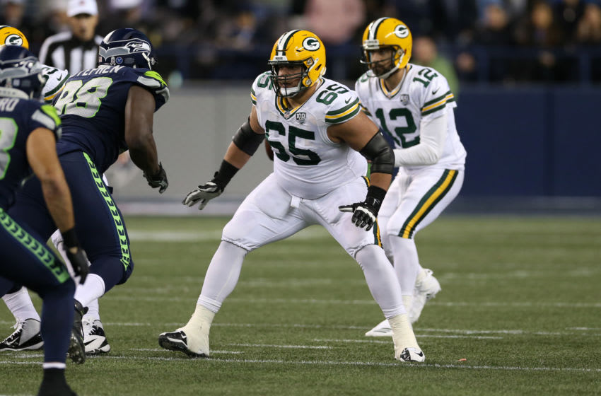 SEATTLE, WA - NOVEMBER 15: Lane Taylor #65 of the Green Bay Packers in action during the game against the Seattle Seahawks at CenturyLink Field on November 15, 2018 in Seattle, Washington. The Seahawks defeated the Packers 27-24. (Photo by Rob Leiter/Getty Images)