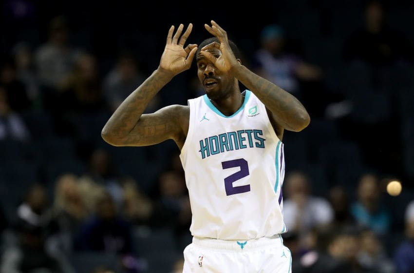 CHARLOTTE, NC - DECEMBER 12: Marvin Williams #2 of the Charlotte Hornets reacts after a shot against the Detroit Pistons during their game at Spectrum Center on December 12, 2018 in Charlotte, North Carolina. NOTE TO USER: User expressly acknowledges and agrees that, by downloading and or using this photograph, User is consenting to the terms and conditions of the Getty Images License Agreement. (Photo by Streeter Lecka/Getty Images)