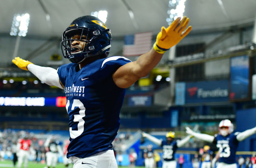ST PETERSBURG, FLORIDA - JANUARY 19: Ka'dar Hollman #13 from Toledo playing on the West Team celebrates after a turnover on downs during the third quarter against the East Team at the 2019 East-West Shrine Game at Tropicana Field on January 19, 2019 in St Petersburg, Florida. (Photo by Julio Aguilar/Getty Images)