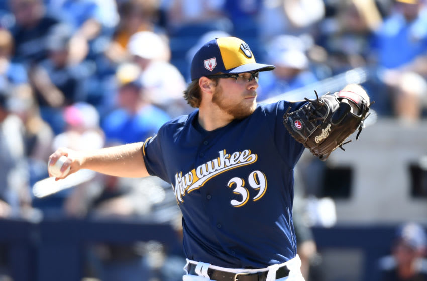 PHOENIX, ARIZONA - MARCH 10: Corbin Burnes #39 of the Milwaukee Brewers delivers a first inning pitch against the Chicago Cubs during a spring training game at Maryvale Baseball Park on March 10, 2019 in Phoenix, Arizona. (Photo by Norm Hall/Getty Images)