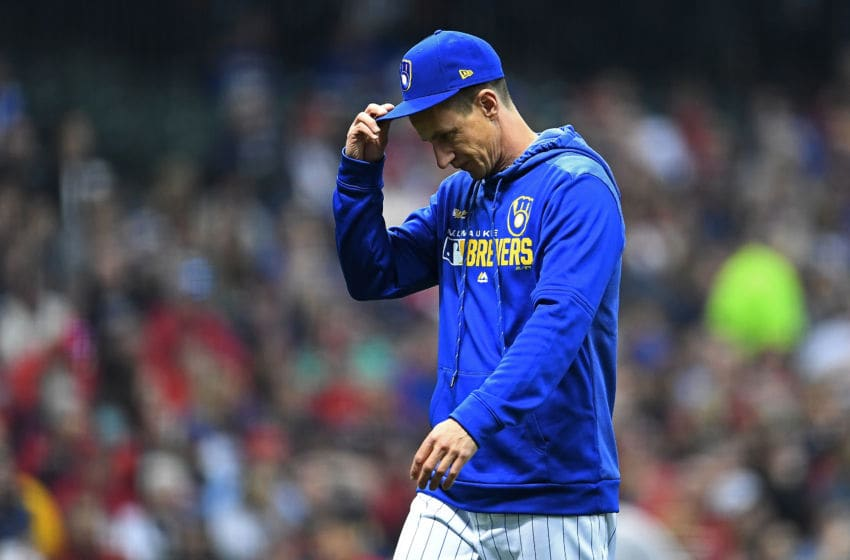 MILWAUKEE, WISCONSIN - MARCH 29: Manager Craig Counsell #30 of the Milwaukee Brewers walks to the dugout during the fourth inning of a game against the St. Louis Cardinals at Miller Park on March 29, 2019 in Milwaukee, Wisconsin. (Photo by Stacy Revere/Getty Images)