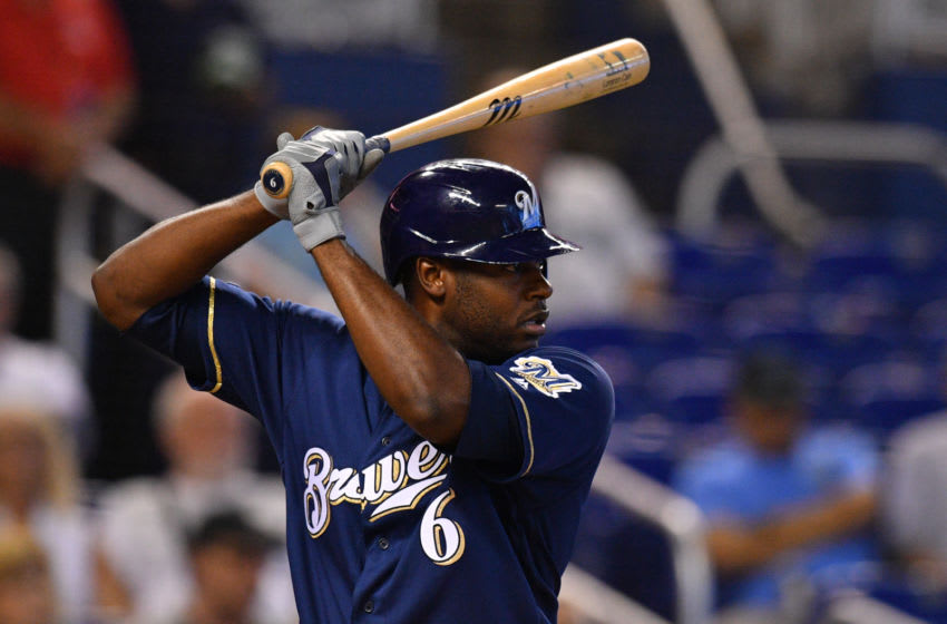 MIAMI, FL - SEPTEMBER 12: Lorenzo Cain #6 of the Milwaukee Brewers bat against the Miami Marlins at Marlins Park on September 12, 2019 in Miami, Florida. (Photo by Mark Brown/Getty Images)