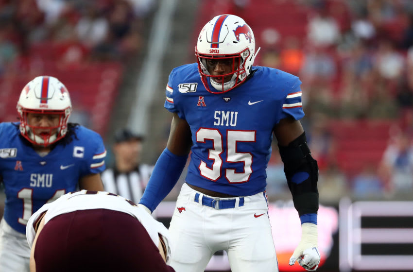 DALLAS, TEXAS - SEPTEMBER 14: Delontae Scott #35 of the Southern Methodist Mustangs at Gerald J. Ford Stadium on September 14, 2019 in Dallas, Texas. (Photo by Ronald Martinez/Getty Images)