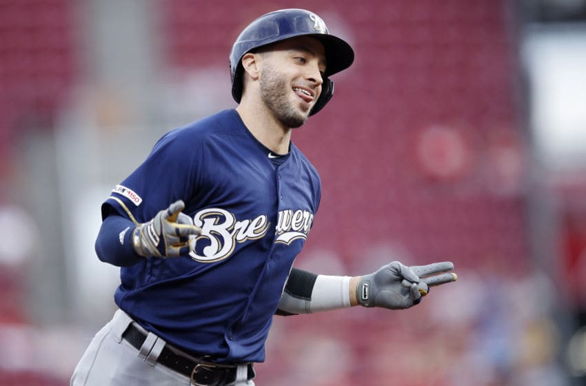 CINCINNATI, OH - SEPTEMBER 25: Ryan Braun #8 of the Milwaukee Brewers reacts after hitting a grand slam home run in the first inning against the Cincinnati Reds at Great American Ball Park on September 25, 2019 in Cincinnati, Ohio. (Photo by Joe Robbins/Getty Images)