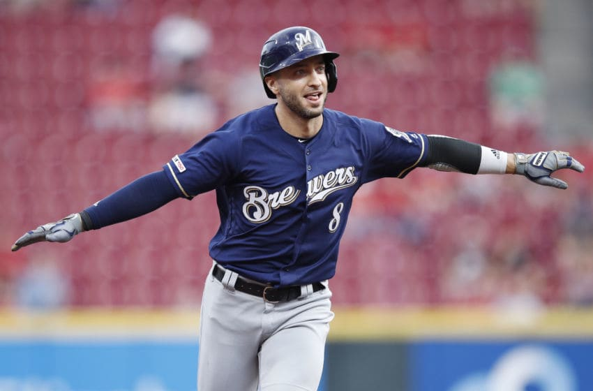 CINCINNATI, OH - SEPTEMBER 25: Ryan Braun #8 of the Milwaukee Brewers reacts while rounding the bases after hitting a grand slam home run during a game against the Cincinnati Reds at Great American Ball Park on September 25, 2019 in Cincinnati, Ohio. The Brewers defeated the Reds 9-2. (Photo by Joe Robbins/Getty Images)