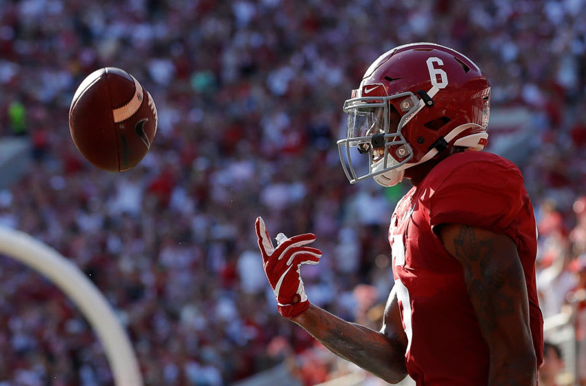 TUSCALOOSA, ALABAMA - SEPTEMBER 28: DeVonta Smith #6 of the Alabama Crimson Tide reacts after scoring a touchdown against the Mississippi Rebels at Bryant-Denny Stadium on September 28, 2019 in Tuscaloosa, Alabama. (Photo by Kevin C. Cox/Getty Images)
