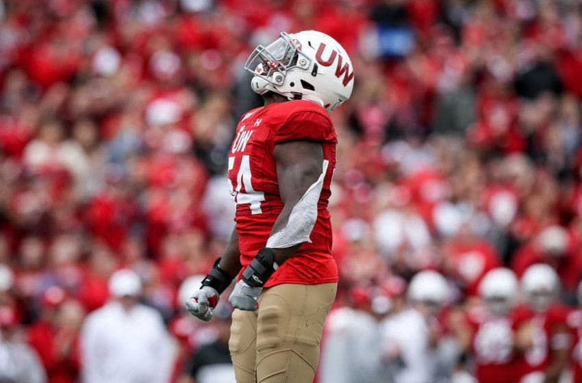 MADISON, WISCONSIN - SEPTEMBER 28: Chris Orr #54 of the Wisconsin Badgers celebrates in the third quarter against the Northwestern Wildcats at Camp Randall Stadium on September 28, 2019 in Madison, Wisconsin. (Photo by Dylan Buell/Getty Images)