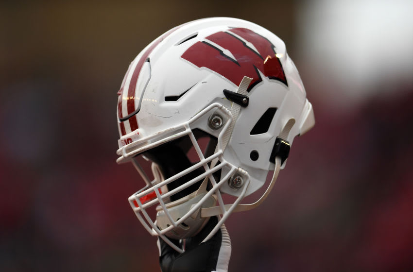 MADISON, WISCONSIN - OCTOBER 05: A detailed view of a Wisconsin Badgers helmet prior to a game against the Kent State Golden Flashes at Camp Randall Stadium on October 05, 2019 in Madison, Wisconsin. (Photo by Stacy Revere/Getty Images)