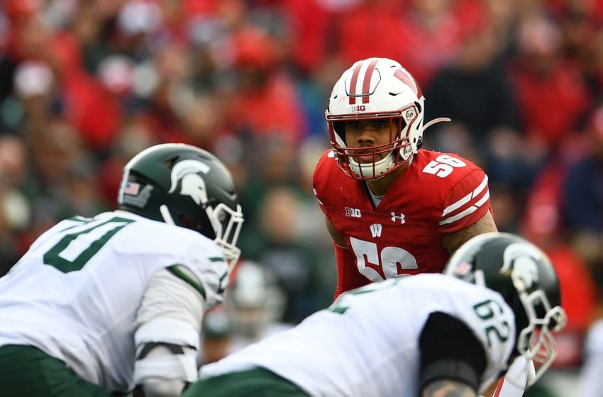 MADISON, WISCONSIN - OCTOBER 12: Zack Baun #56 of the Wisconsin Badgers anticipates a play during a game against the Michigan State Spartans at Camp Randall Stadium on October 12, 2019 in Madison, Wisconsin. (Photo by Stacy Revere/Getty Images)