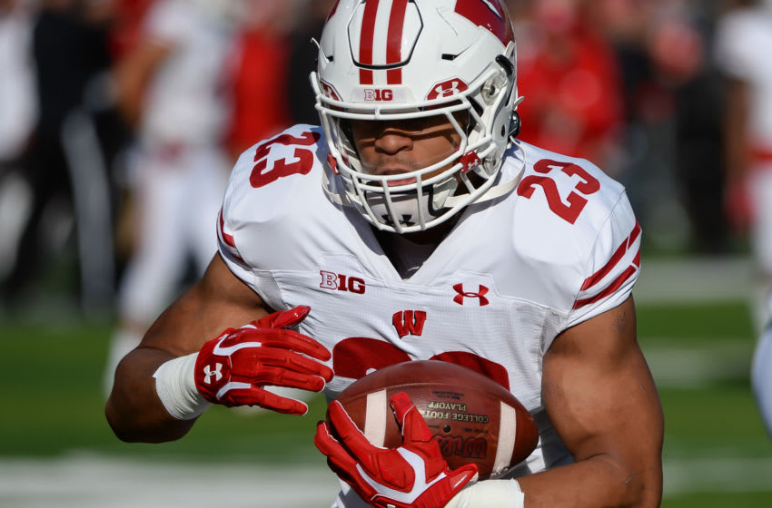 LINCOLN, NE - NOVEMBER 16: Running back Jonathan Taylor #23 of the Wisconsin Badgers warms up before the game against the Nebraska Cornhuskers at Memorial Stadium on November 16, 2019 in Lincoln, Nebraska. (Photo by Steven Branscombe/Getty Images)