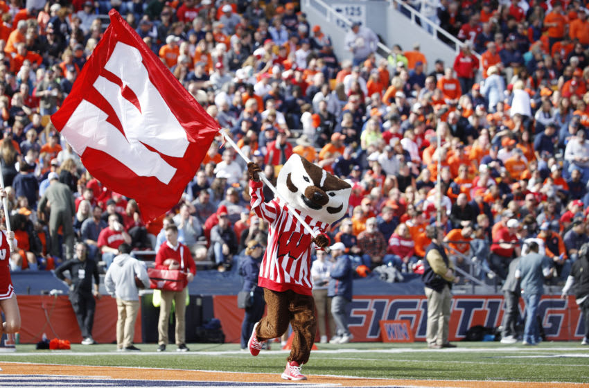 CHAMPAIGN, IL - OCTOBER 19: Wisconsin Badgers mascot Bucky Badger carries the school flag after a score during a game against the Illinois Fighting Illini at Memorial Stadium on October 19, 2019 in Champaign, Illinois. Illinois defeated Wisconsin 24-23. (Photo by Joe Robbins/Getty Images)