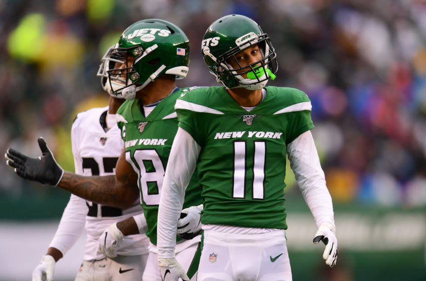 EAST RUTHERFORD, NEW JERSEY - NOVEMBER 24: Robby Anderson #11 of the New York Jets reacts after catching a pass during the second quarter of their game against the Oakland Raiders at MetLife Stadium on November 24, 2019 in East Rutherford, New Jersey. (Photo by Emilee Chinn/Getty Images)