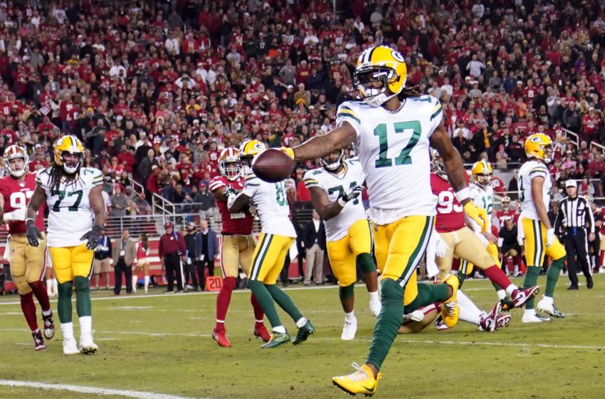 SANTA CLARA, CALIFORNIA - NOVEMBER 24: Davante Adams #17 of the Green Bay Packers scores a touchdown on a two-yard run against the San Francisco 49er during the second half at Levi's Stadium on November 24, 2019 in Santa Clara, California. (Photo by Thearon W. Henderson/Getty Images)