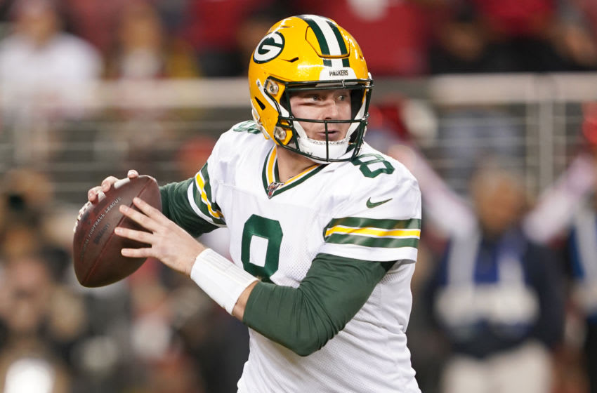 SANTA CLARA, CALIFORNIA - NOVEMBER 24: Tim Boyle #8 of the Green Bay Packers looks to pass against the San Francisco 49ers during the second half of an NFL football game at Levi's Stadium on November 24, 2019 in Santa Clara, California. The 49ers won the game 37-8. (Photo by Thearon W. Henderson/Getty Images)