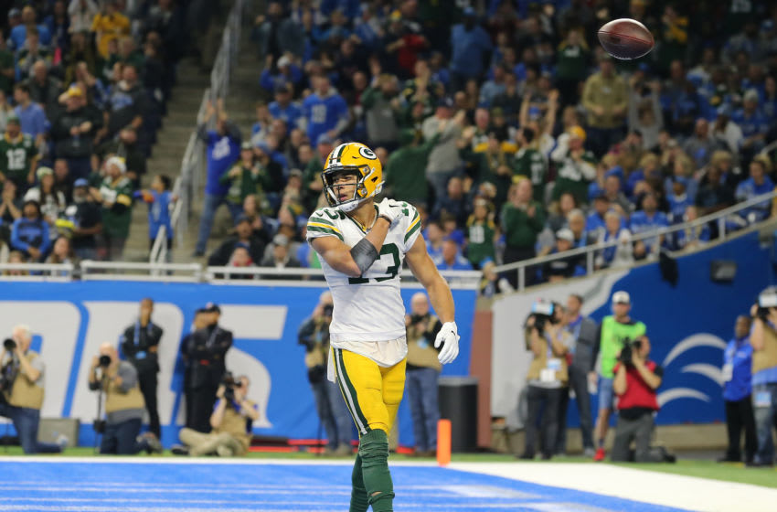 DETROIT, MI - DECEMBER 29: Allen Lazard #13 of the Green Bay Packers celebrates his fourth quarter touchdown pass against the Detroit Lions at Ford Field on December 29, 2019 in Detroit, Michigan. (Photo by Rey Del Rio/Getty Images)