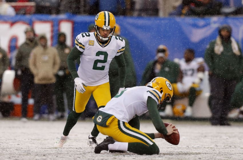 EAST RUTHERFORD, NEW JERSEY - DECEMBER 01: (NEW YORK DAILIES OUT) Mason Crosby #2 of the Green Bay Packers in action against the New York Giants at MetLife Stadium on December 01, 2019 in East Rutherford, New Jersey. The Packers defeated the Giants 31-13. (Photo by Jim McIsaac/Getty Images)