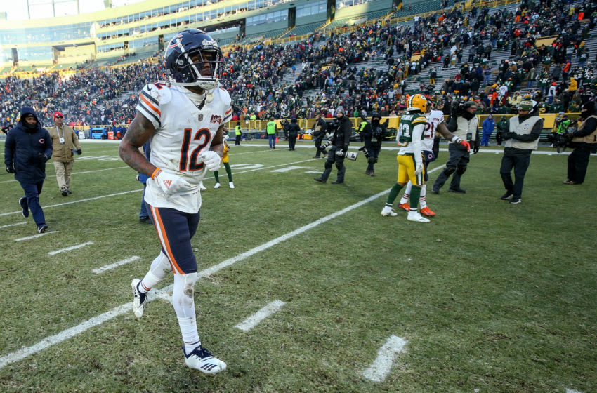 GREEN BAY, WISCONSIN - DECEMBER 15: Allen Robinson #12 of the Chicago Bears jogs off the field after losing to the Green Bay Packers 21-13 at Lambeau Field on December 15, 2019 in Green Bay, Wisconsin. (Photo by Dylan Buell/Getty Images)
