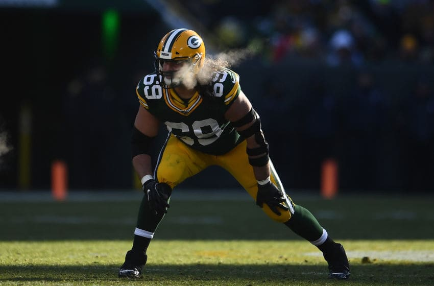 GREEN BAY, WISCONSIN - DECEMBER 15: David Bakhtiari #69 of the Green Bay Packers anticipates a play during a game against the Chicago Bears at Lambeau Field on December 15, 2019 in Green Bay, Wisconsin. (Photo by Stacy Revere/Getty Images)