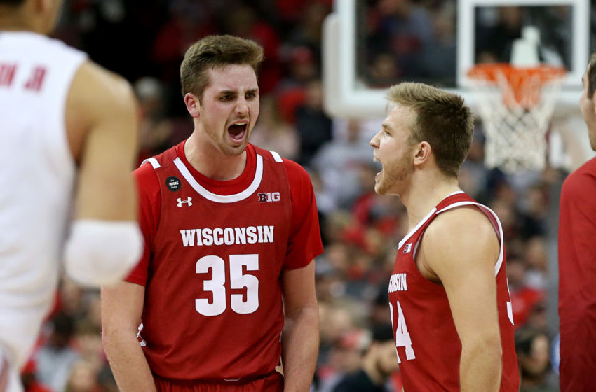 COLUMBUS, OHIO - JANUARY 03: Nate Reuvers #35 of the Wisconsin Badgers reacts after a play in the game against the Ohio State Buckeyes at Value City Arena on January 03, 2020 in Columbus, Ohio. (Photo by Justin Casterline/Getty Images)