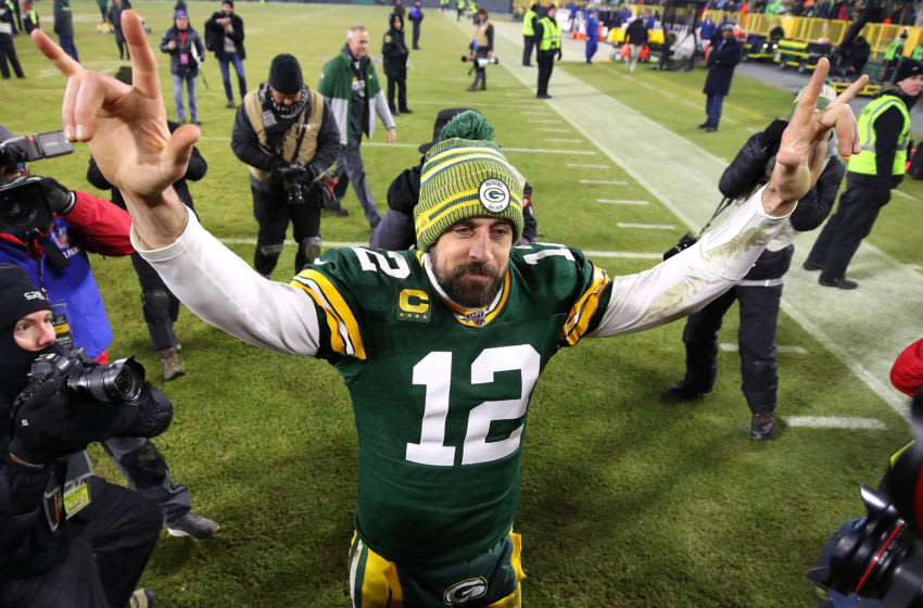 GREEN BAY, WISCONSIN - JANUARY 12: Aaron Rodgers #12 of the Green Bay Packers after a 28-23 win over the Seattle Seahawks in the NFC divisional round of the playoffs at Lambeau Field on January 12, 2020 in Green Bay, Wisconsin. (Photo by Gregory Shamus/Getty Images)