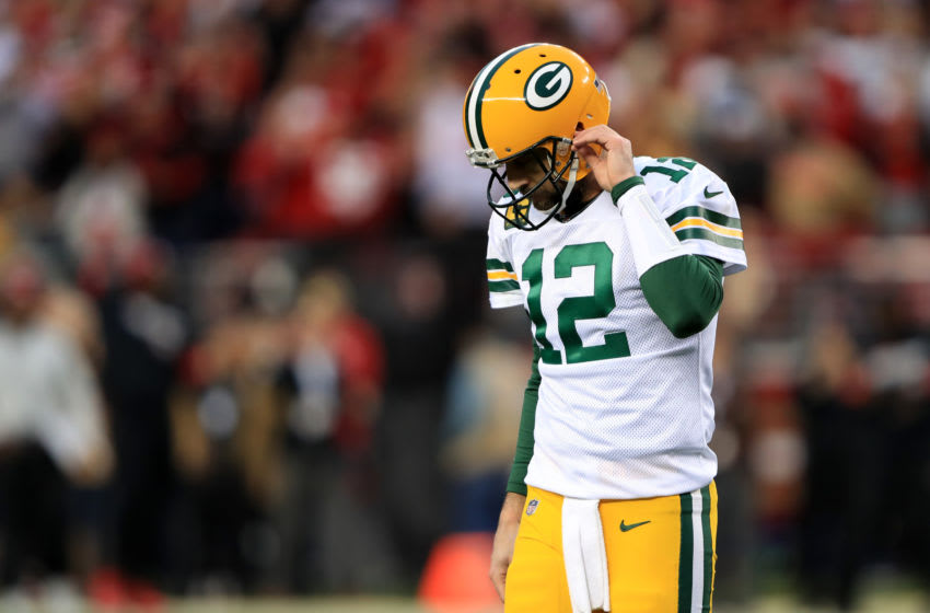 SANTA CLARA, CALIFORNIA - JANUARY 19: Aaron Rodgers #12 of the Green Bay Packers reacts after a fumble in the first half against the San Francisco 49ers during the NFC Championship game at Levi's Stadium on January 19, 2020 in Santa Clara, California. (Photo by Sean M. Haffey/Getty Images)