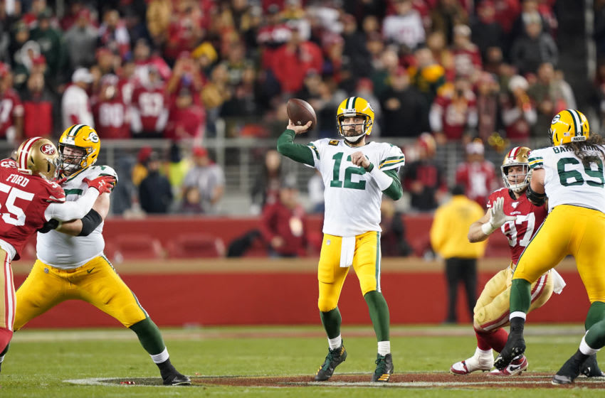SANTA CLARA, CALIFORNIA - JANUARY 19: Aaron Rodgers #12 of the Green Bay Packers throws a pass against the San Francisco 49ers in the second half during the NFC Championship game at Levi's Stadium on January 19, 2020 in Santa Clara, California. (Photo by Thearon W. Henderson/Getty Images)