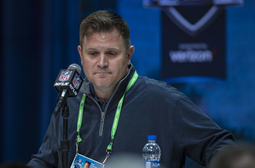 INDIANAPOLIS, IN - FEBRUARY 25: General manager Brian Gutekunst of the Green Bay Packers speaks to the media at the Indiana Convention Center on February 25, 2020 in Indianapolis, Indiana. (Photo by Michael Hickey/Getty Images) *** Local Capture *** Brian Gutekunst