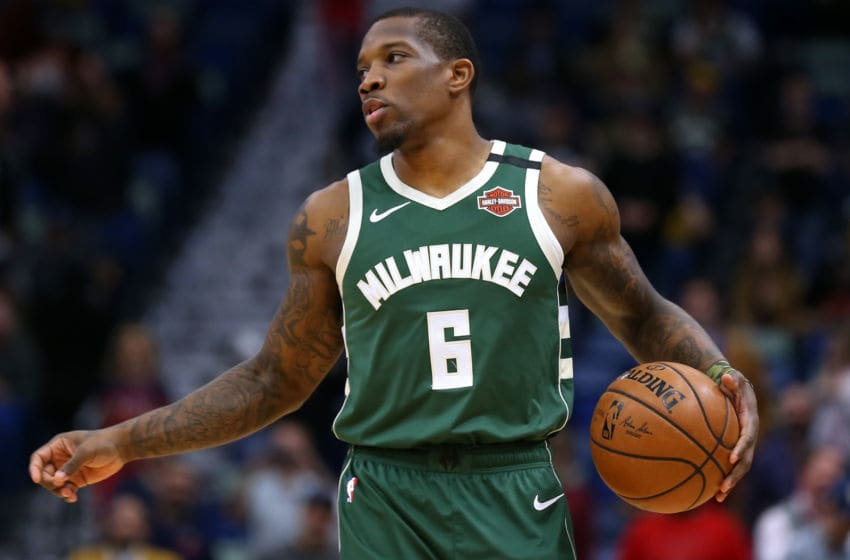 NEW ORLEANS, LOUISIANA - FEBRUARY 04: Eric Bledsoe #6 of the Milwaukee Bucks drives with the ball against the New Orleans Pelicans during a game at the Smoothie King Center on February 04, 2020 in New Orleans, Louisiana. NOTE TO USER: User expressly acknowledges and agrees that, by downloading and or using this Photograph, user is consenting to the terms and conditions of the Getty Images License Agreement. (Photo by Jonathan Bachman/Getty Images)