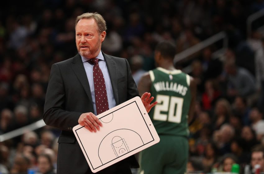 WASHINGTON, DC - FEBRUARY 24: Head coach Mike Budenholzer of the Milwaukee Bucks reacts against the Washington Wizards during the first half at Capital One Arena on February 24, 2020 in Washington, DC. NOTE TO USER: User expressly acknowledges and agrees that, by downloading and or using this photograph, User is consenting to the terms and conditions of the Getty Images License Agreement. (Photo by Patrick Smith/Getty Images)