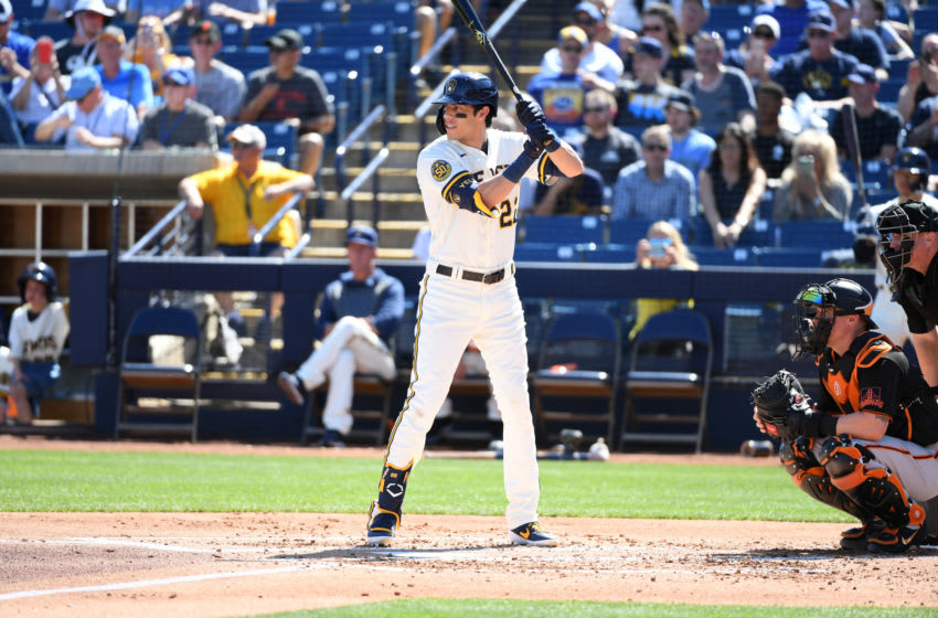 MARYVALE, ARIZONA - MARCH 06: Christian Yelich #22 of the Milwaukee Brewers gets ready in the batters box during a spring training game against the San Francisco Giants at American Family Fields of Phoenix on March 06, 2020 in Maryvale, Arizona. (Photo by Norm Hall/Getty Images)