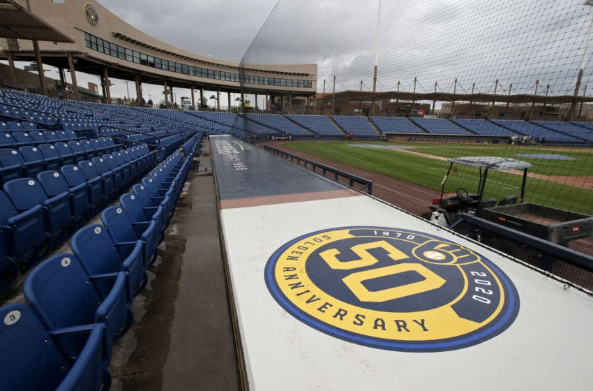 MARYVALE, - MARCH 12: General view of American Family Fields stadium, spring training home of the Milwaukee Brewers, following Major League Baseball's decision to suspend all spring training games on March 12, 2020 in Phoenix, Arizona. The decision was made due to concerns of the ongoing Coronavirus (COVID-19) outbreak. (Photo by Ralph Freso/Getty Images)
