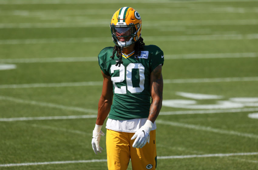 ASHWAUBENON, WISCONSIN - AUGUST 19: Kevin King #20 of the Green Bay Packers walks across the field during Green Bay Packers Training Camp at Ray Nitschke Field on August 19, 2020 in Ashwaubenon, Wisconsin. (Photo by Dylan Buell/Getty Images)