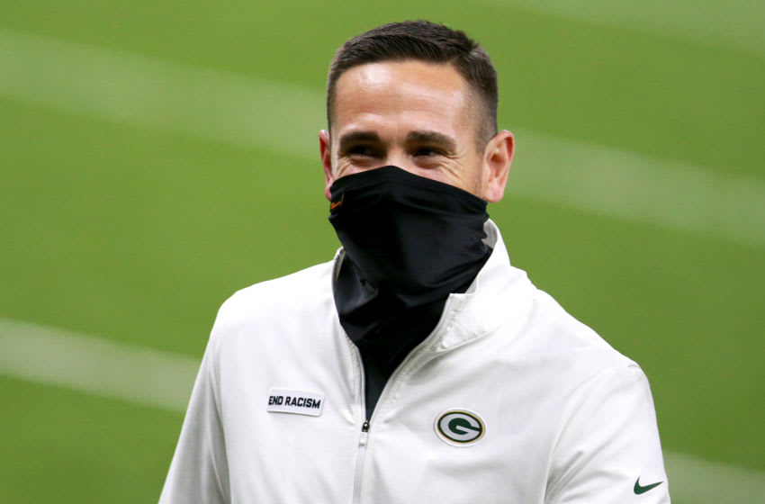 NEW ORLEANS, LOUISIANA - SEPTEMBER 27: Head coach Matt LaFleur of the Green Bay Packers walks off the field after his team defeated the New Orleans Saints at Mercedes-Benz Superdome on September 27, 2020 in New Orleans, Louisiana. (Photo by Sean Gardner/Getty Images)