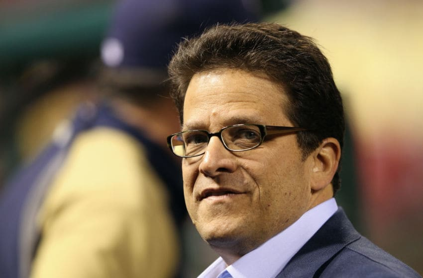 ST LOUIS, MO - OCTOBER 14: Team owner Mark Attanasio of the Milwaukee Brewers looks on against the St. Louis Cardinals during Game Five of the National League Championship Series at Busch Stadium on October 14, 2011 in St Louis, Missouri. (Photo by Jamie Squire/Getty Images)
