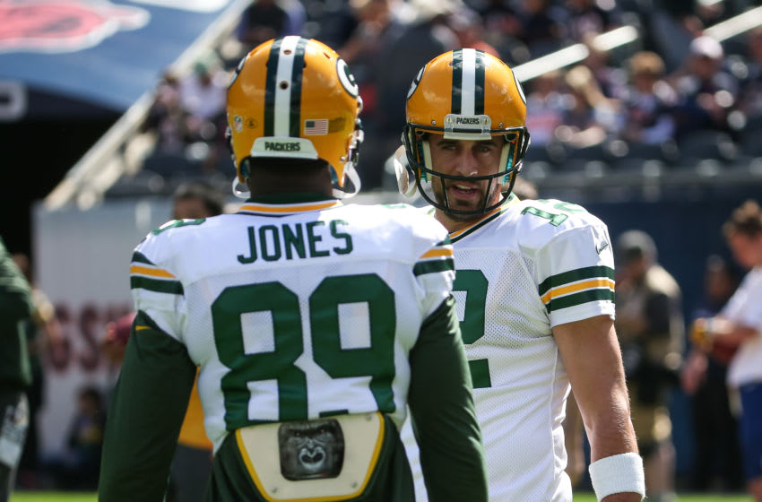 CHICAGO, IL - SEPTEMBER 13: Quarterback Aaron Rodgers #12 of the Green Bay Packers talks with James Jones #89 prior to the game against the Chicago Bears at Soldier Field on September 13, 2015 in Chicago, Illinois. (Photo by Jonathan Daniel/Getty Images)